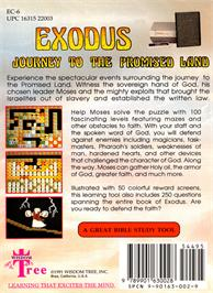 Box back cover for Exodus: Journey to the Promised Land on the Nintendo NES.