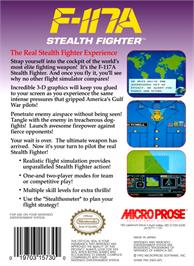 Box back cover for F-117A Stealth Fighter on the Nintendo NES.