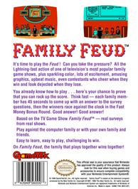 Box back cover for Family Feud on the Nintendo NES.