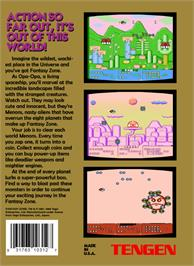 Box back cover for Fantasy Zone on the Nintendo NES.