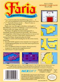 Box back cover for Faria: A World of Mystery and Danger on the Nintendo NES.