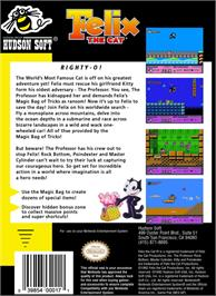 Box back cover for Felix the Cat on the Nintendo NES.