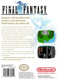 Box back cover for Final Fantasy on the Nintendo NES.