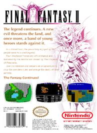 Box back cover for Final Fantasy 2 on the Nintendo NES.