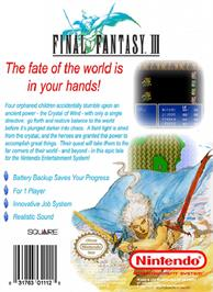 Box back cover for Final Fantasy 3 on the Nintendo NES.