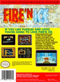 Box back cover for Fire and Ice on the Nintendo NES.