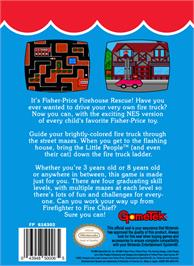 Box back cover for Fisher-Price: Firehouse Rescue on the Nintendo NES.