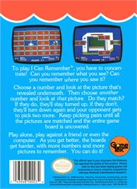 Box back cover for Fisher-Price: I Can Remember on the Nintendo NES.
