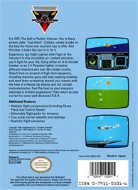 Box back cover for Flight of the Intruder on the Nintendo NES.