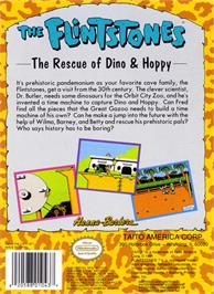Box back cover for Flintstones: The Rescue of Dino & Hoppy on the Nintendo NES.