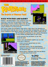 Box back cover for Flintstones: The Surprise at Dinosaur Peak on the Nintendo NES.