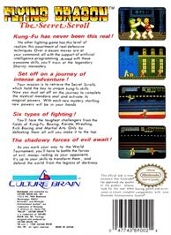 Box back cover for Flying Dragon: The Secret Scroll on the Nintendo NES.