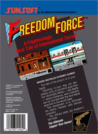 Box back cover for Freedom Force on the Nintendo NES.