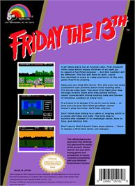 Box back cover for Friday the 13th on the Nintendo NES.