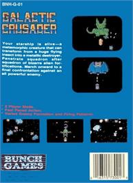 Box back cover for Galactic Crusader on the Nintendo NES.