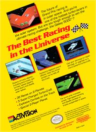 Box back cover for Galaxy 5000: Racing in the 51st Century on the Nintendo NES.