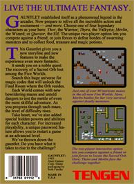 Box back cover for Gauntlet on the Nintendo NES.