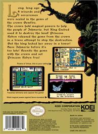Box back cover for Gemfire on the Nintendo NES.