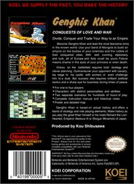 Box back cover for Genghis Khan on the Nintendo NES.