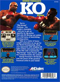 Box back cover for George Foreman's KO Boxing on the Nintendo NES.