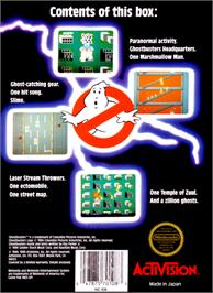 Box back cover for Ghostbusters on the Nintendo NES.