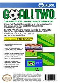 Box back cover for Goal! Two on the Nintendo NES.
