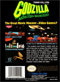 Box back cover for Godzilla: Monster of Monsters on the Nintendo NES.