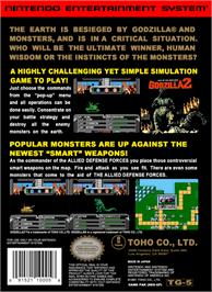 Box back cover for Godzilla 2: War of the Monsters on the Nintendo NES.