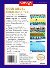 Box back cover for Gold Medal Challenge '92 on the Nintendo NES.