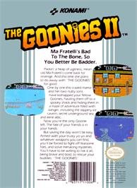 Box back cover for Goonies 2 on the Nintendo NES.