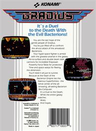 Box back cover for Gradius on the Nintendo NES.