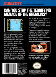 Box back cover for Gremlins 2: The New Batch on the Nintendo NES.