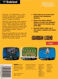 Box back cover for Guardian Legend on the Nintendo NES.