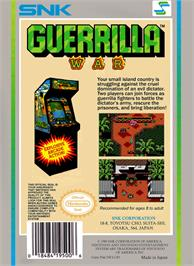 Box back cover for Guerrilla War on the Nintendo NES.