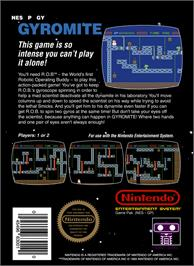 Box back cover for Gyromite on the Nintendo NES.