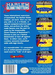 Box back cover for Harlem Globetrotters on the Nintendo NES.