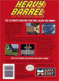 Box back cover for Heavy Barrel on the Nintendo NES.
