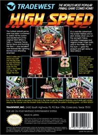 Box back cover for High Speed on the Nintendo NES.