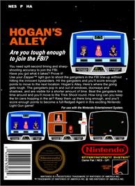 Box back cover for Hogan's Alley on the Nintendo NES.
