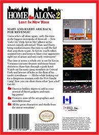 Box back cover for Home Alone 2: Lost in New York on the Nintendo NES.