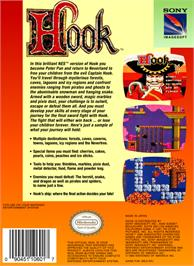 Box back cover for Hook on the Nintendo NES.