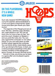 Box back cover for Hoops on the Nintendo NES.