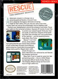 Box back cover for Hostage: Rescue Mission on the Nintendo NES.