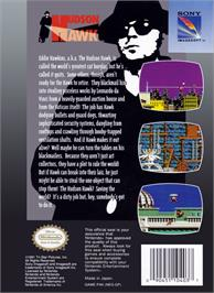 Box back cover for Hudson Hawk on the Nintendo NES.