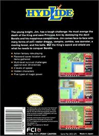 Box back cover for Hydlide on the Nintendo NES.