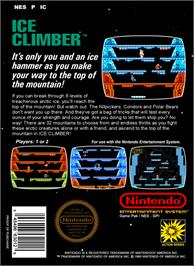 Box back cover for Ice Climber on the Nintendo NES.