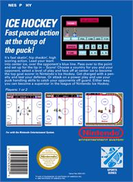 Box back cover for Ice Hockey on the Nintendo NES.