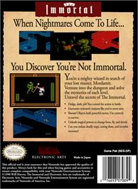 Box back cover for Immortal on the Nintendo NES.