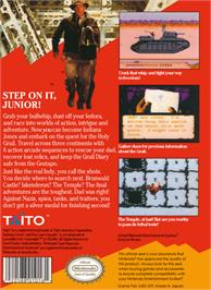 Box back cover for Indiana Jones and the Last Crusade on the Nintendo NES.