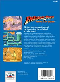 Box back cover for Indiana Jones and the Temple of Doom on the Nintendo NES.